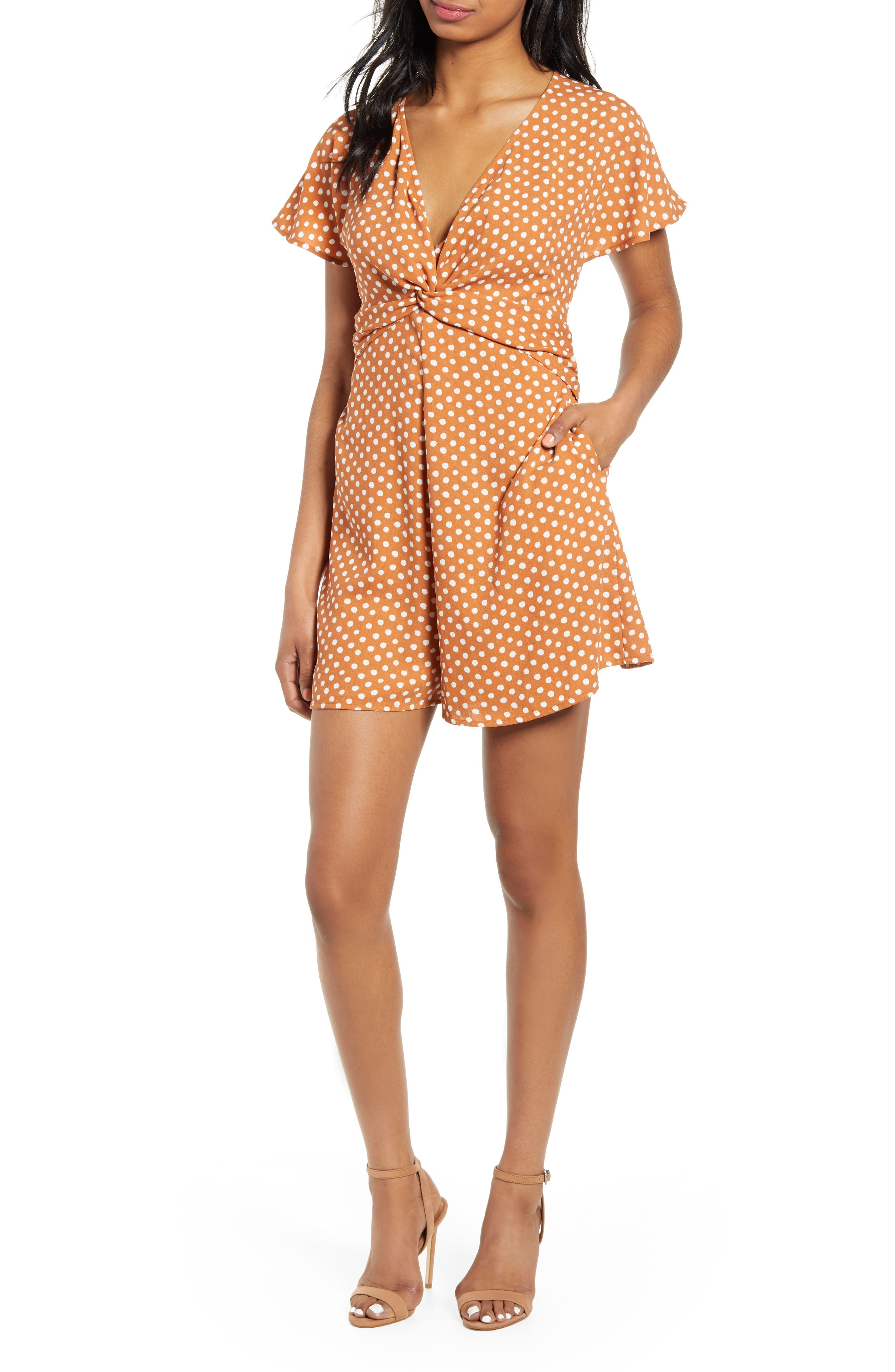Leith Twist Front Romper, Brown