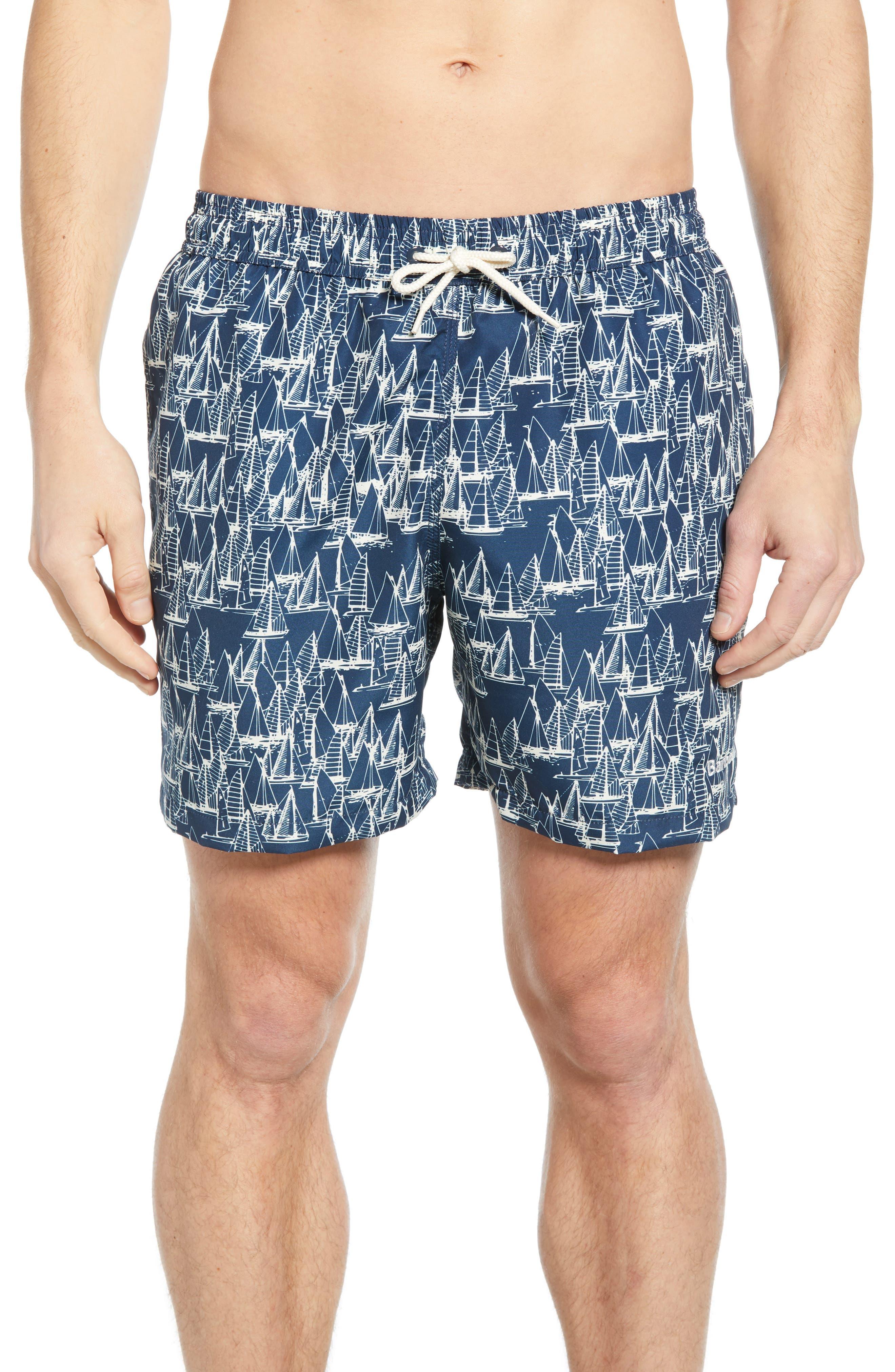 Barbour Boat Print Swim Shorts, Blue