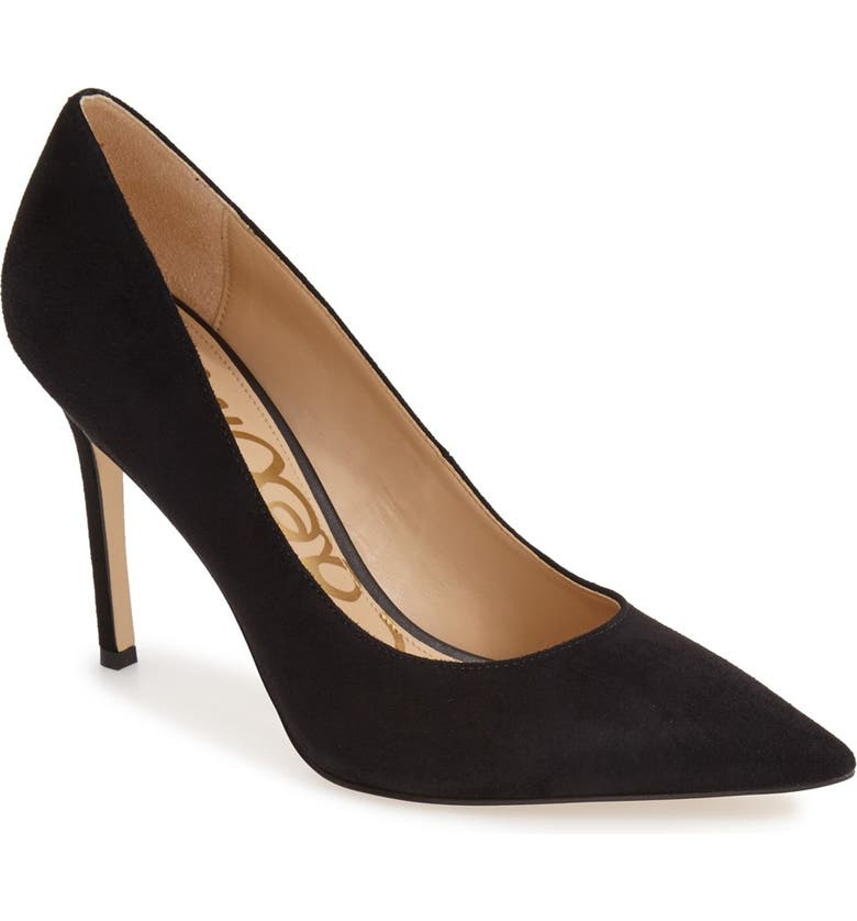 SAM EDELMAN Hazel Pointy Toe Pump, Main, color, BLACK SUEDE