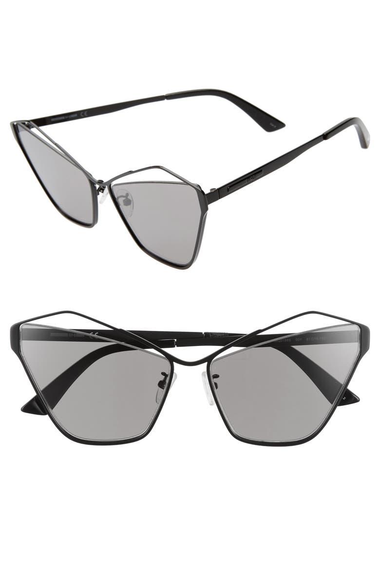 MCQ ALEXANDER MCQUEEN 61mm Cutout Cat Eye Sunglasses, Main, color, BLACK/ GREY