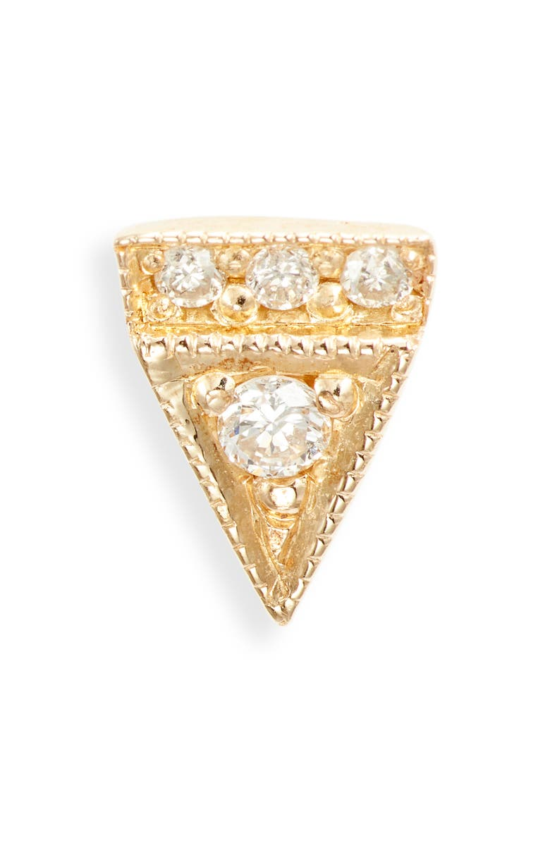 JENNIE KWON DESIGNS Deco Point Triangle Diamond Single Stud Earring, Main, color, YELLOW GOLD/ DIAMOND