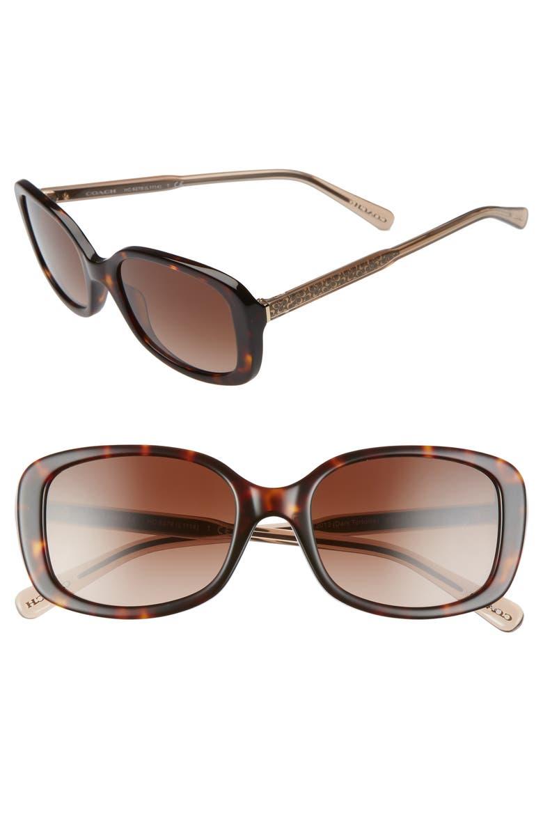 COACH 53mm Gradient Rectangular Sunglasses, Main, color, 200