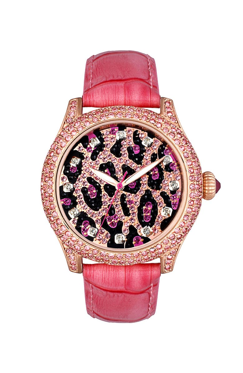 BETSEY JOHNSON Leopard Dial Watch, Main, color, Pink