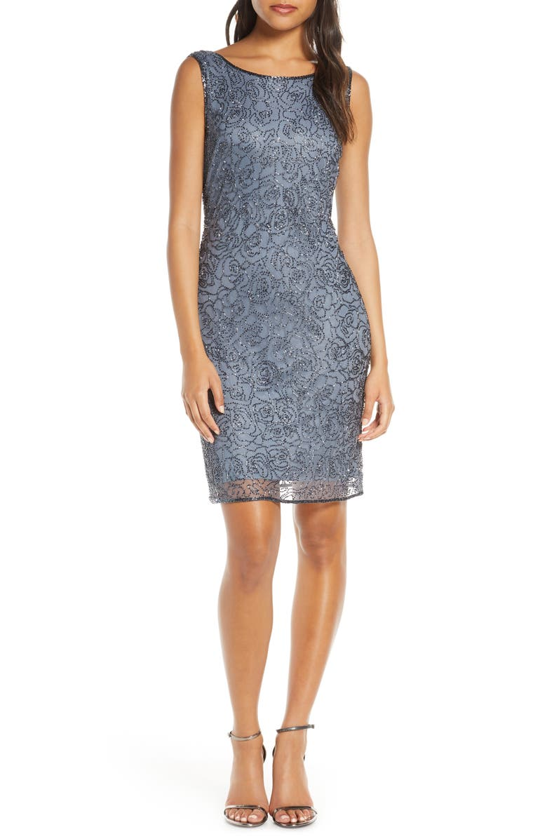 PISARRO NIGHTS Beaded Sheath Dress, Main, color, SLATE