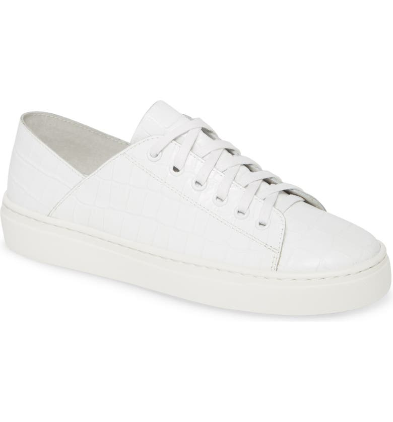 SILENT D Osky Croc Embossed Sneaker, Main, color, WHITE LEATHER