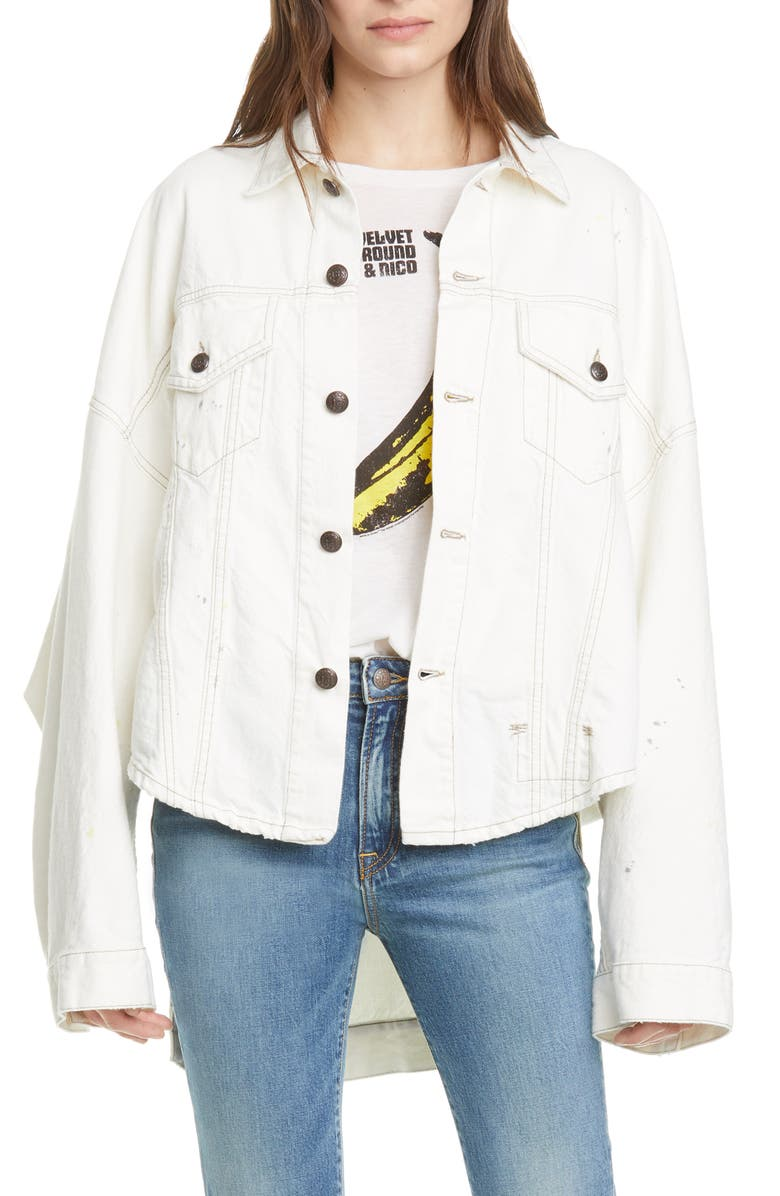 R13 Max's Oversized High/Low Denim Trucker Jacket, Main, color, NOLLIE WHITE