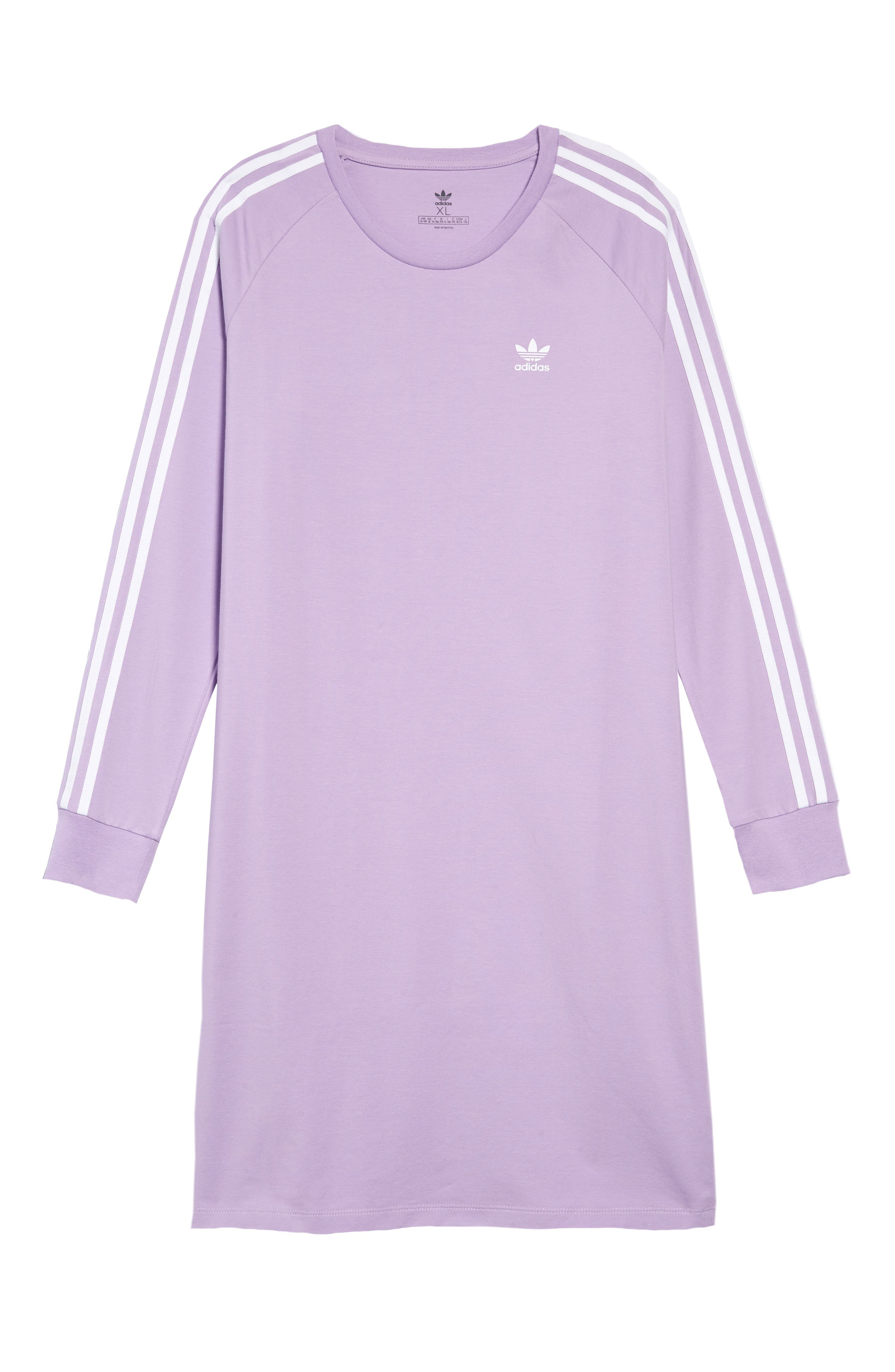 ,                             3-Stripes T-Shirt Dress,                             Main thumbnail 1, color,                             PURGLO/ WHITE