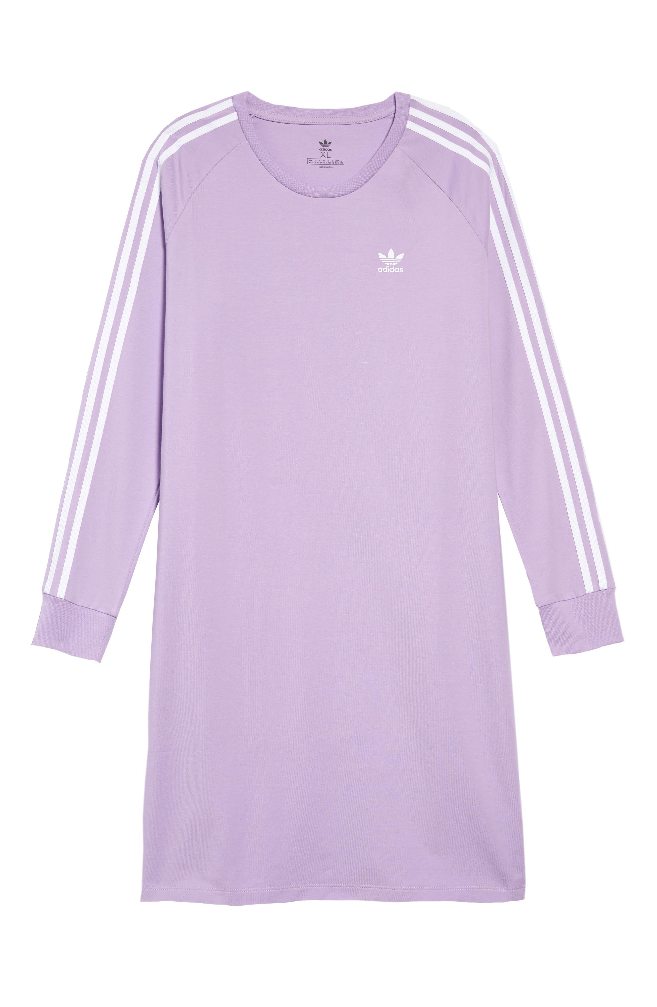 3-Stripes T-Shirt Dress, Main, color, PURGLO/ WHITE