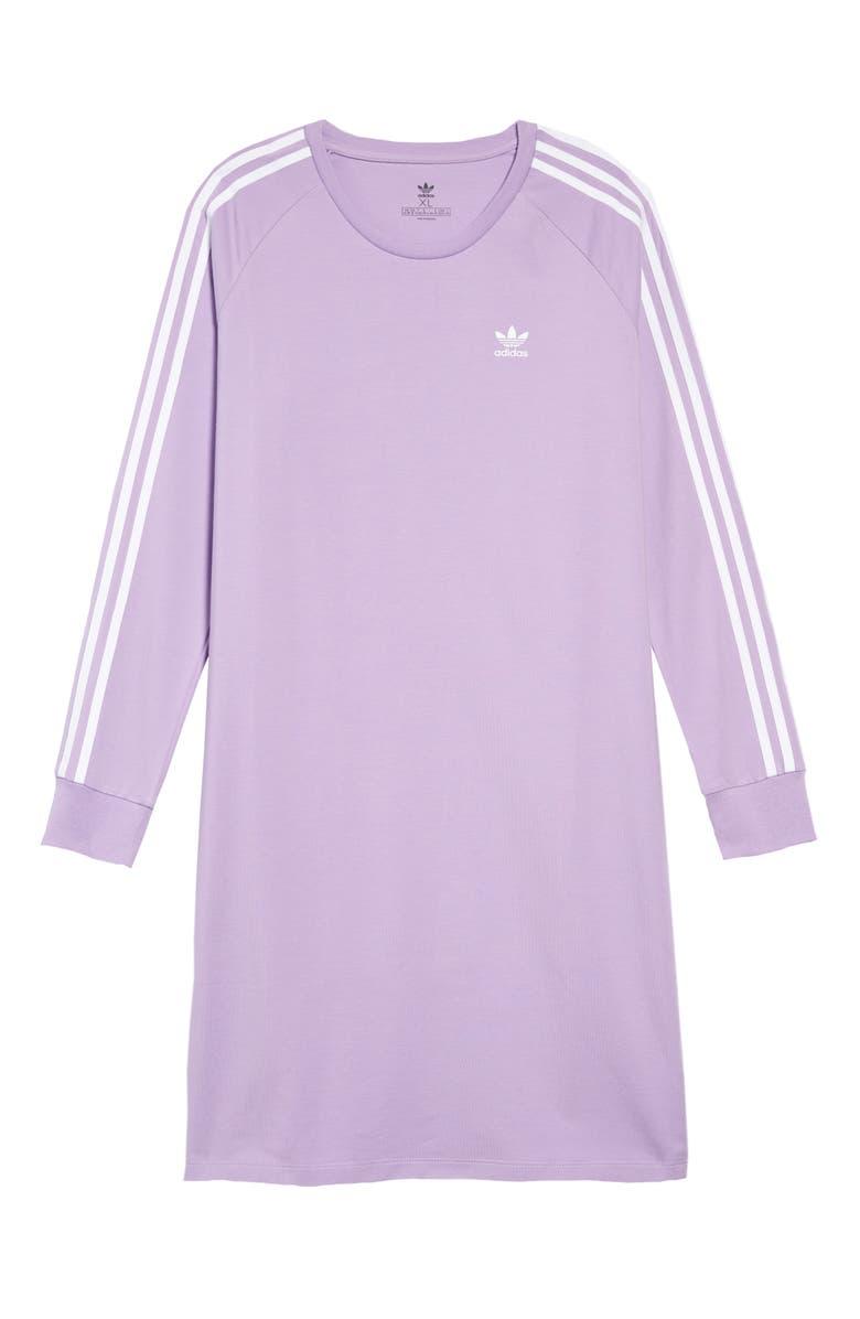 ADIDAS ORIGINALS 3-Stripes T-Shirt Dress, Main, color, 535