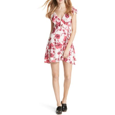 Free People French Quarter Print Wrap Minidress, Ivory