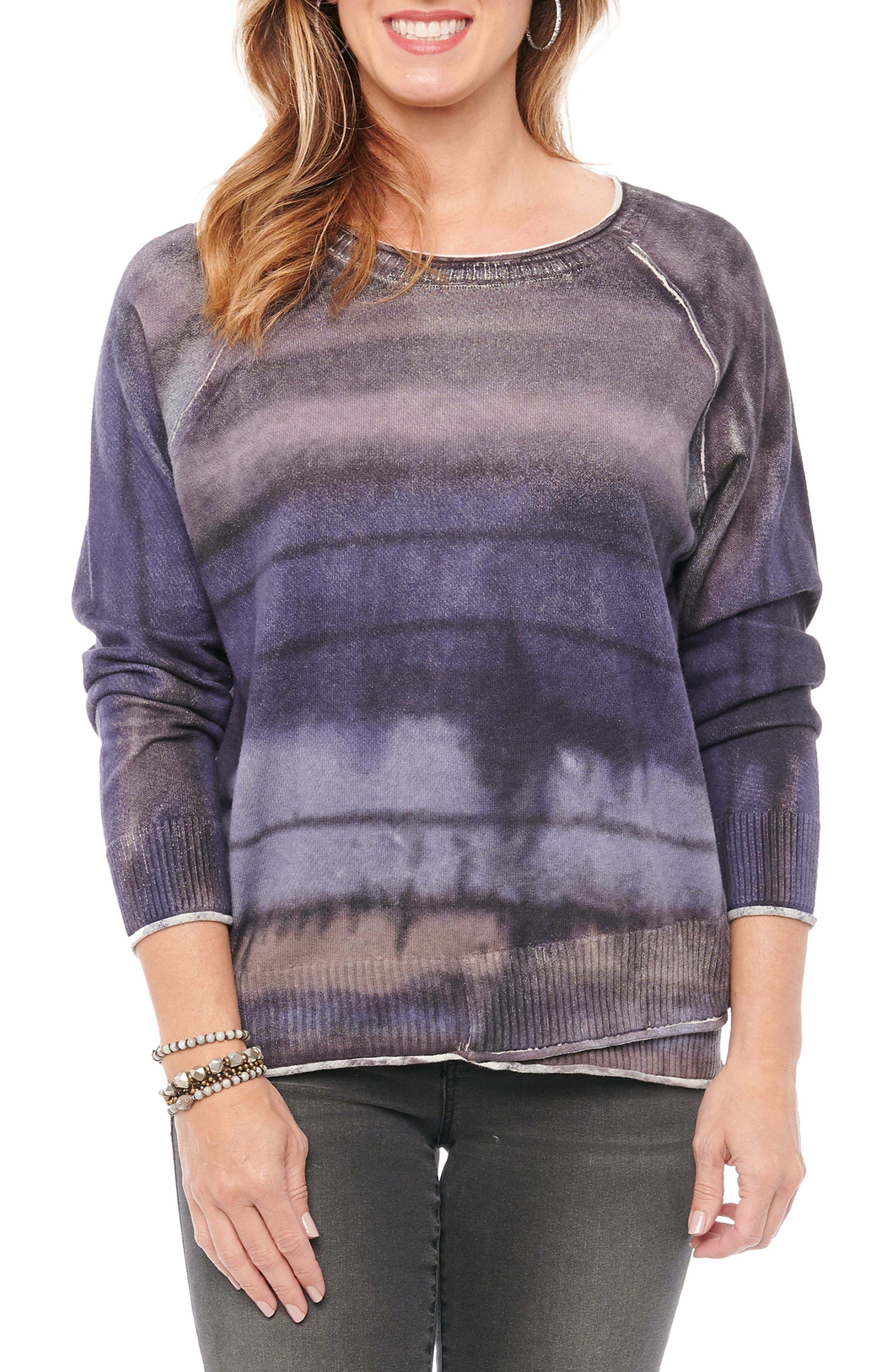Hazy tie-dye stripes enliven this soft cotton pullover styled with sporty raglan sleeves and raw, rolled seams. Style Name: Wit & Wisdom Tie Dye Sweater (Plus Size). Style Number: 6133435. Available in stores.