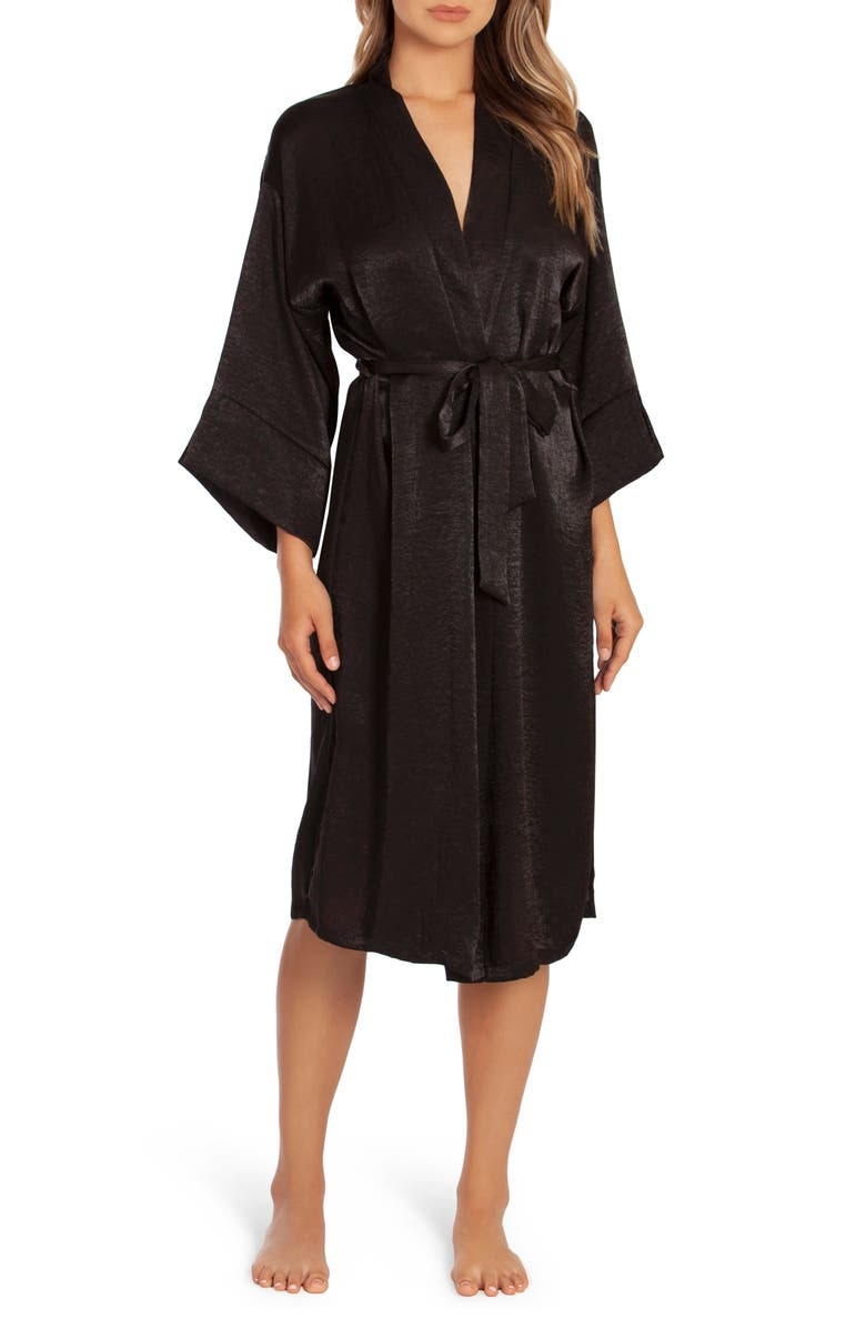 IN BLOOM BY JONQUIL Wildest Dreams Satin Robe, Main, color, BLACK