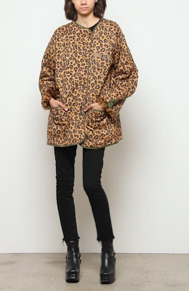Faux Fur Lined Leopard Print Military Liner Jacket, video thumbnail