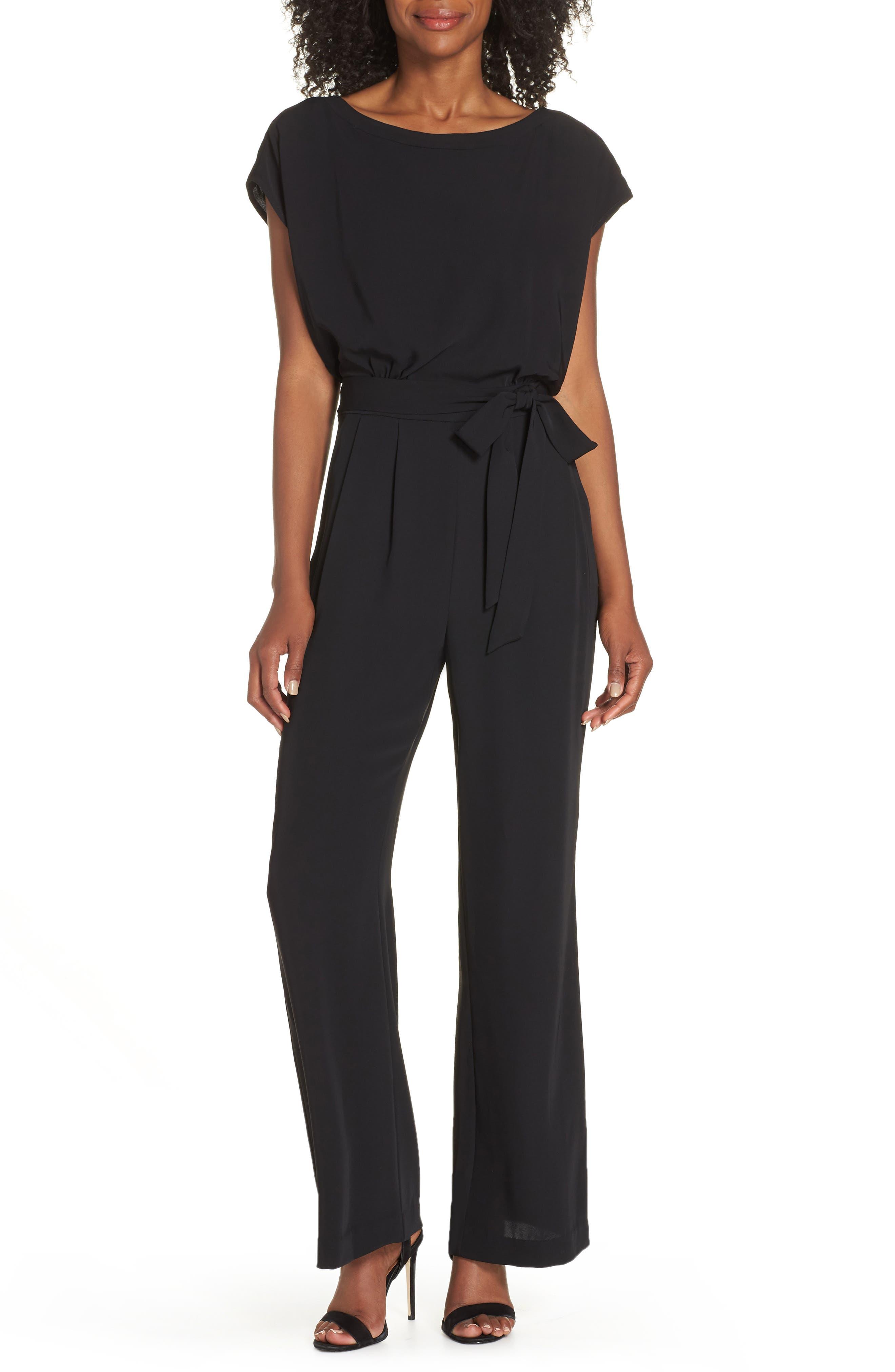 ,                             Cap Sleeve Wide Leg Jumpsuit,                             Main thumbnail 1, color,                             BLACK