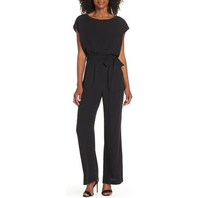 Eliza J Cap Sleeve Wide Leg Jumpsuit, Black