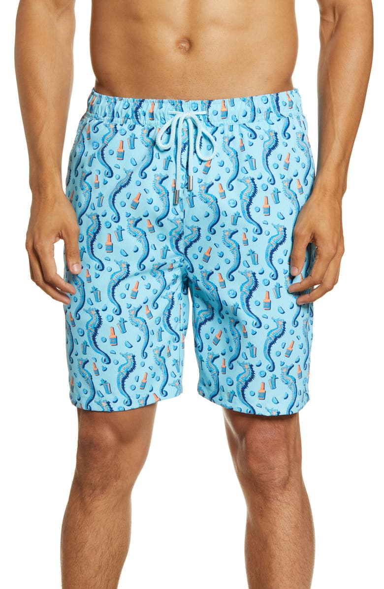PETER MILLAR Jockeys and Juleps Swim Trunks, Main, color, TROPICAL BLUE