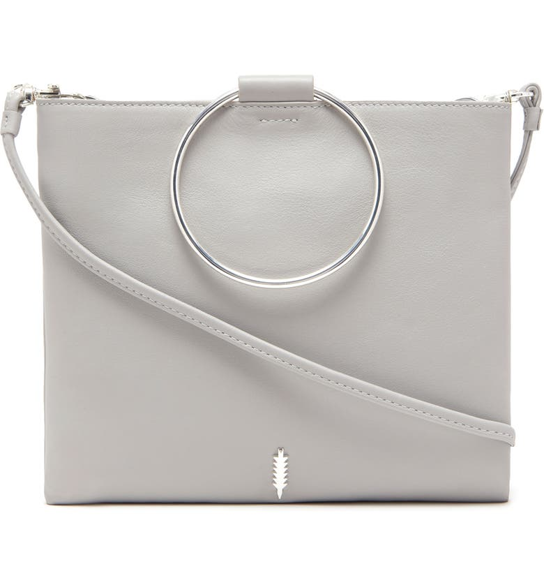 THACKER Le Pouch Metallic Leather Ring Handle Crossbody Bag, Main, color, 020
