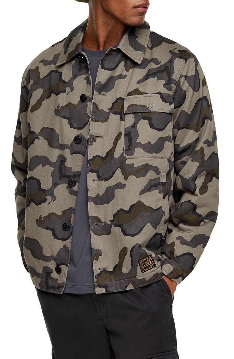 TOPMAN Camouflage Classic Fit Deck Jacket, Main, color, 300