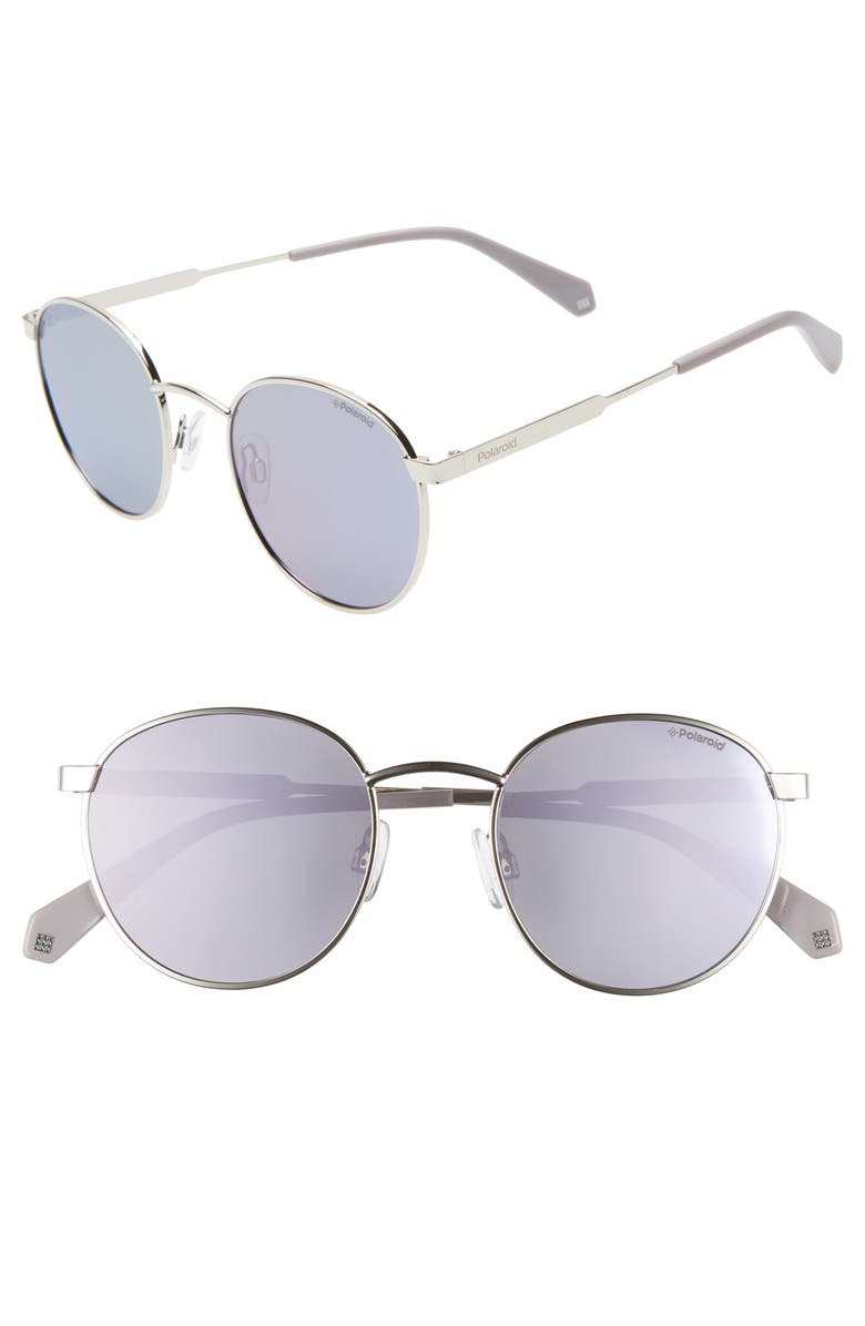 POLAROID EYEWEAR Polaroid 51mm Polarized Round Sunglasses, Main, color, SILVER/ PURPLE
