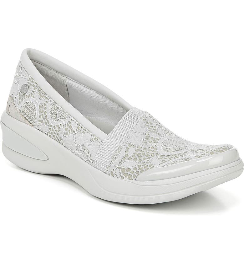 BZEES Flirty Slip-On Wedge Sneaker, Main, color, LIGHT GREY FLORAL LACE FABRIC