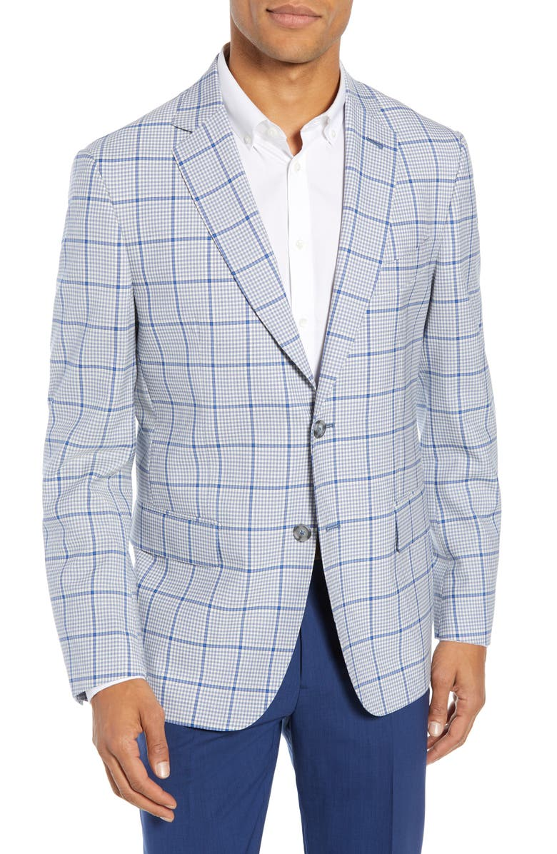 JOHN W. NORDSTROM<SUP>®</SUP> Traditional Fit Check Wool Sport Coat, Main, color, IVORY EGRET BLUE CHECK
