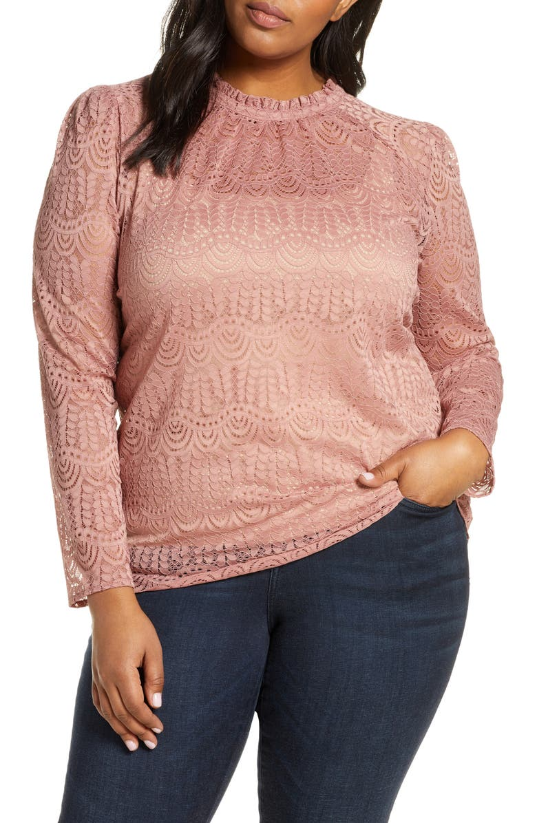 GIBSON Puff Sleeve Lace Top, Main, color, MAUVE
