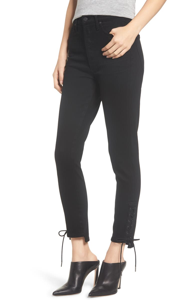 CITIZENS OF HUMANITY Olivia High Waist Lace-Up Hem Slim Jeans, Main, color, BLACK