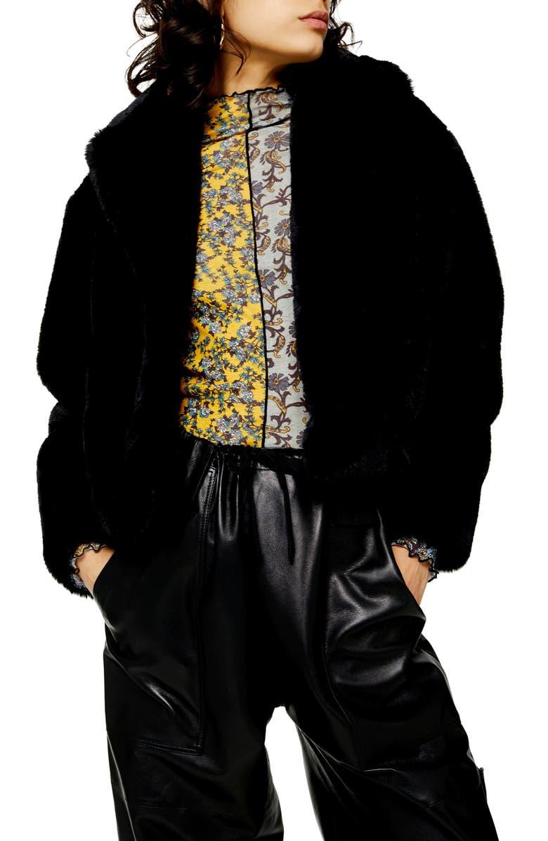 TOPSHOP Faux Fur Crop Jacket, Main, color, 001