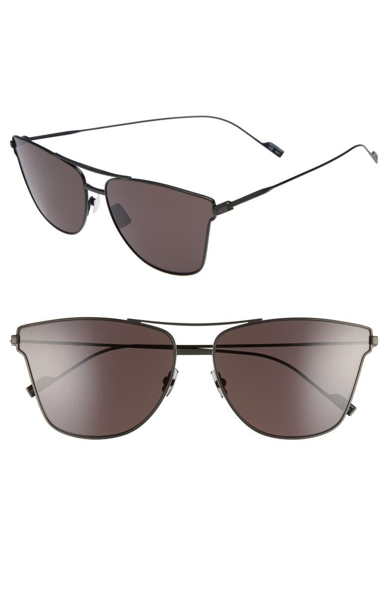 SAINT LAURENT SL 51T 63mm Sunglasses, Main, color, BLACK