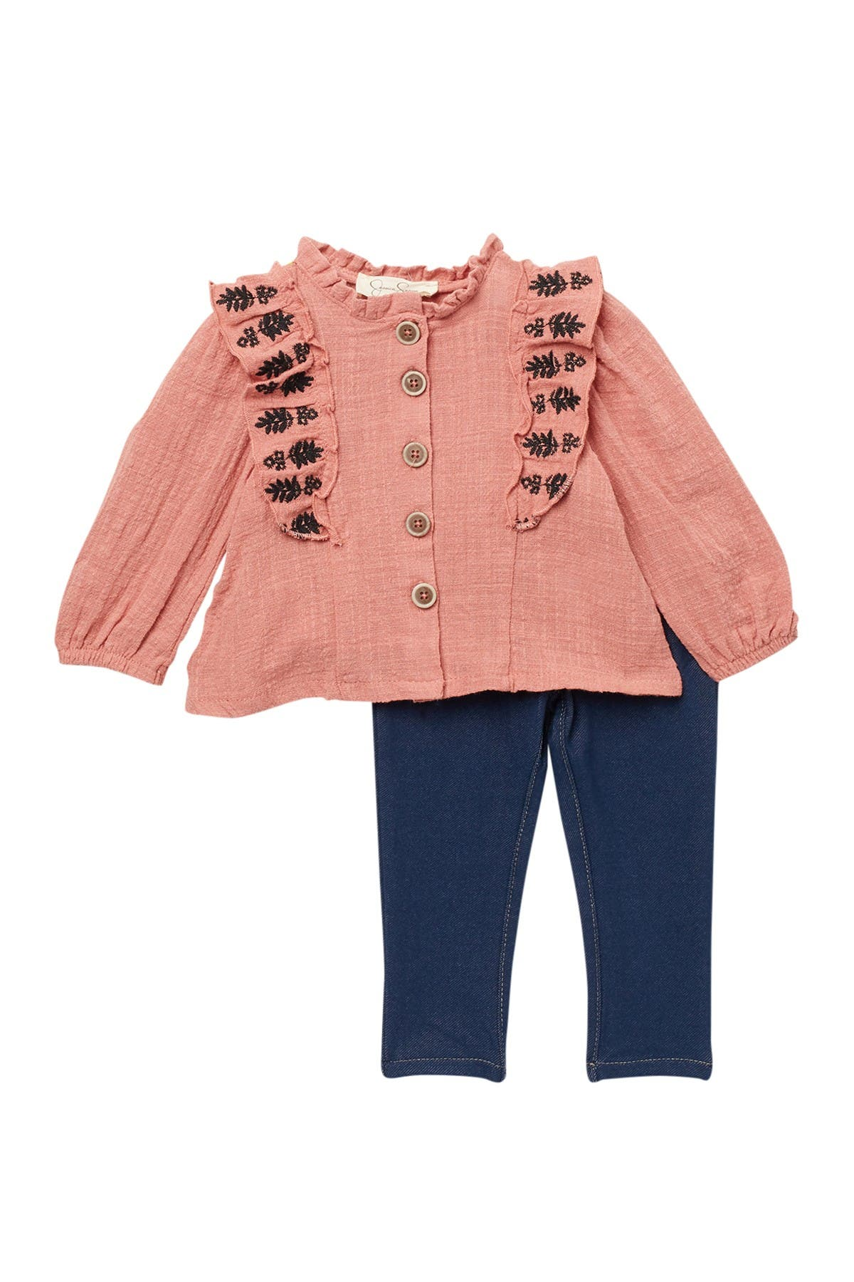 Image of Jessica Simpson Embroidered Gauze Ruffle Top & Pants