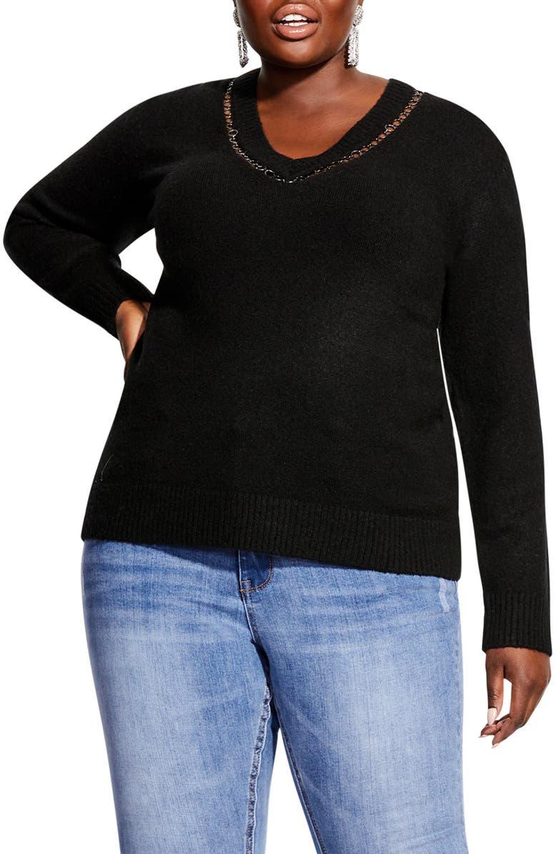 CITY CHIC V-Neck Sweater, Main, color, BLACK