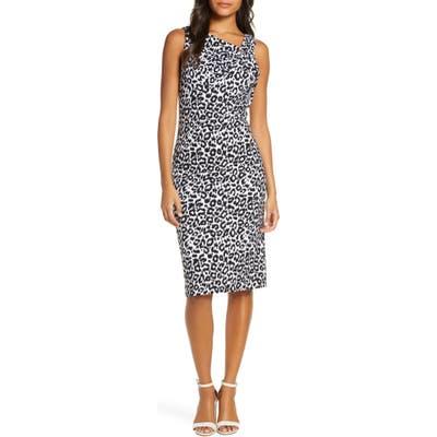 Donna Ricco Leopard Print Asymmetrical Neck Sheath Dress, Black