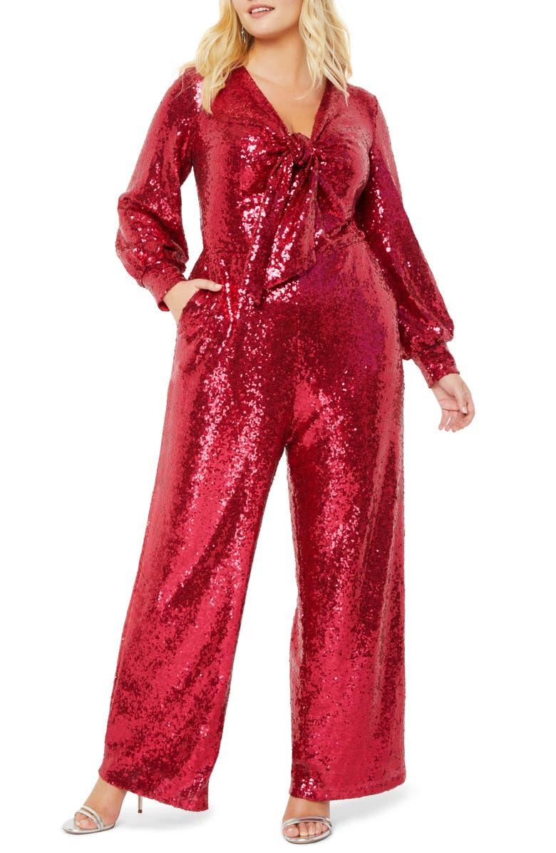 ELOQUII Sequin Tie Front Long Sleeve Jumpsuit, Main, color, VIVID CHERRY