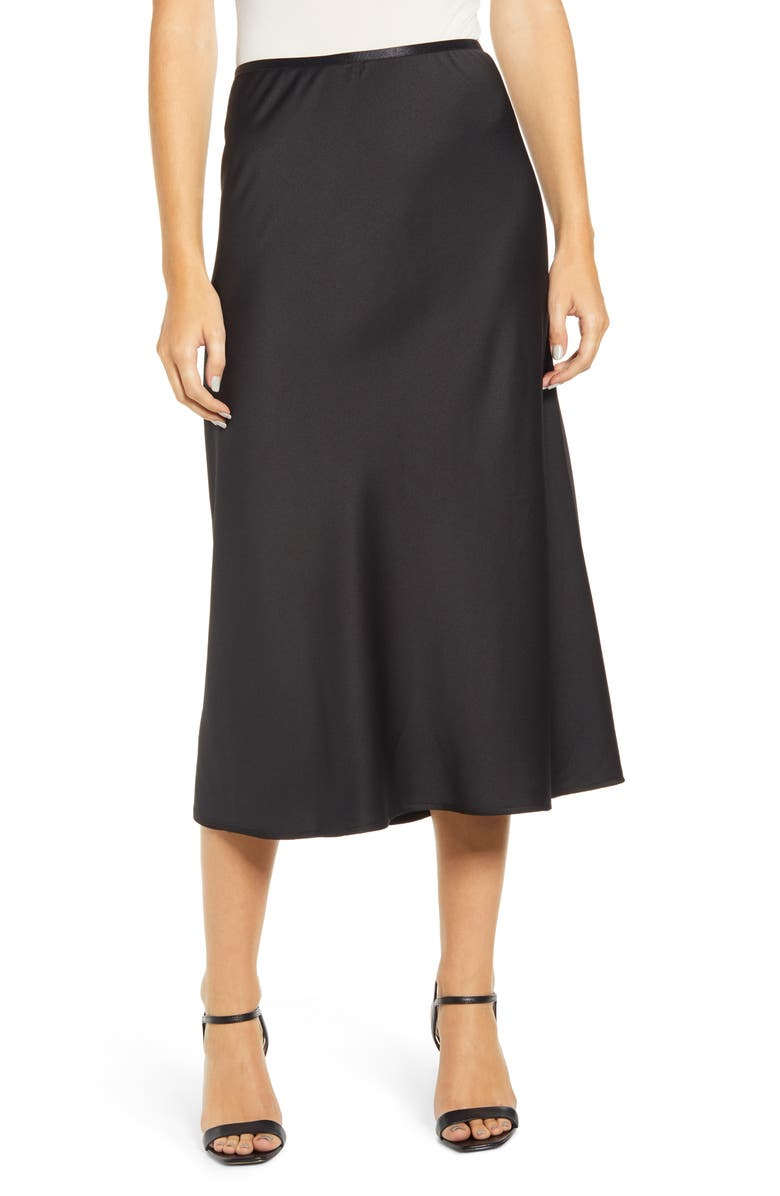 FRENCH CONNECTION Alessia Drape Skirt, Main, color, BLACK