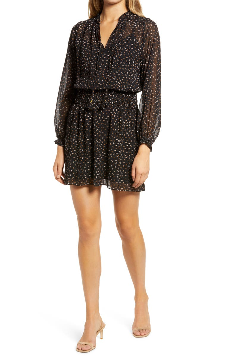 SOCIALITE Long Sleeve Smocked Waist Chiffon Minidress, Main, color, BLACK/ BROWN SPOT