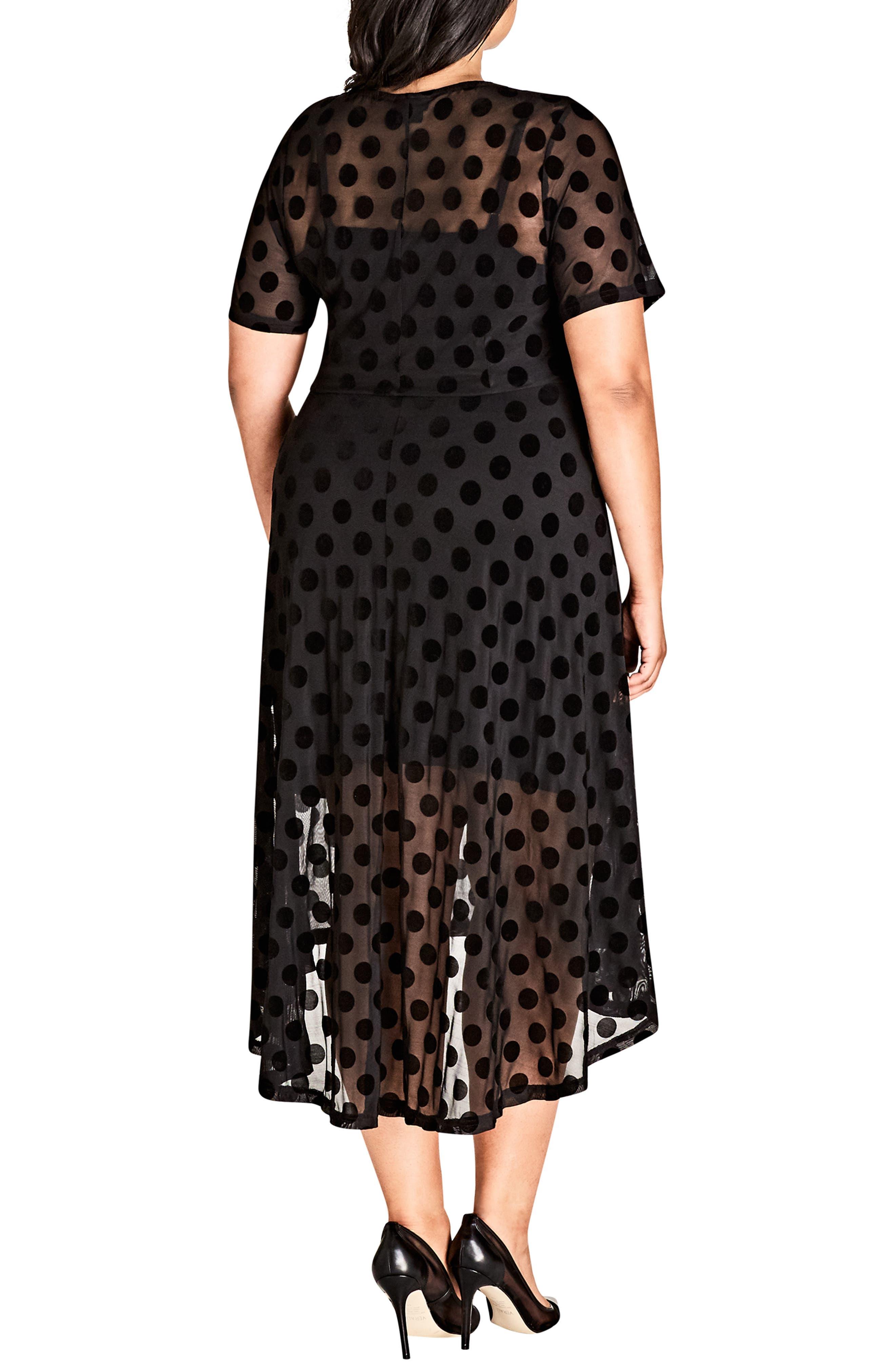 ,                             Spot Flock Dress,                             Alternate thumbnail 2, color,                             BLACK