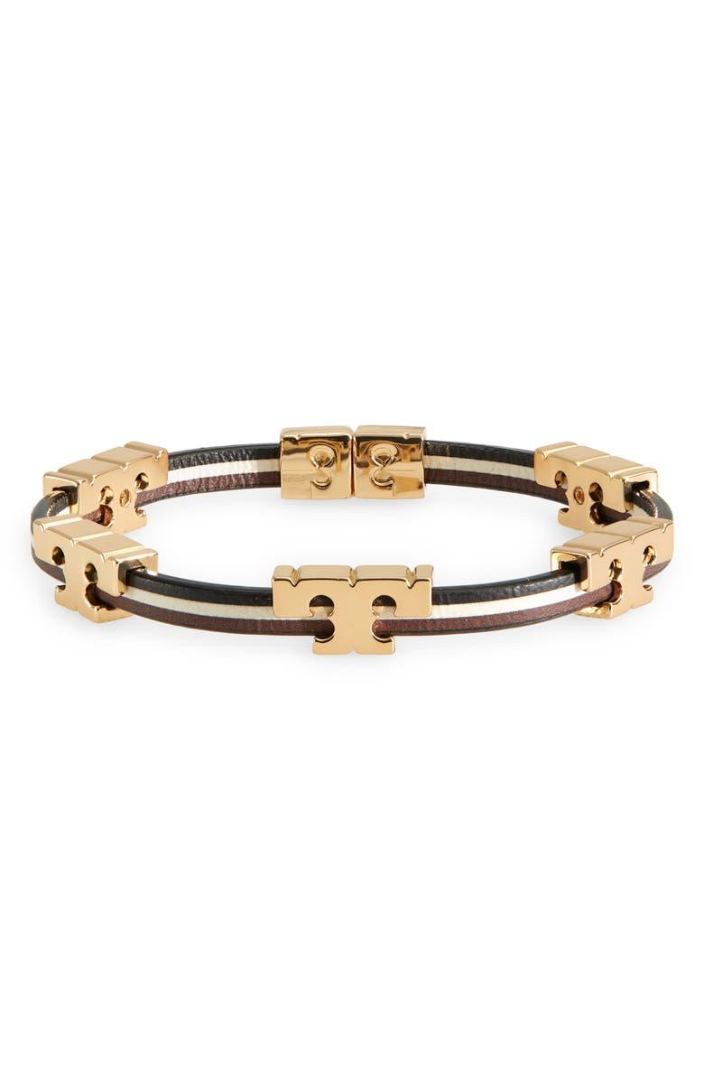 TORY BURCH Logo Stackable Bracelet, Main, color, TORY GOLD/BLACK/IVORY/BROWN