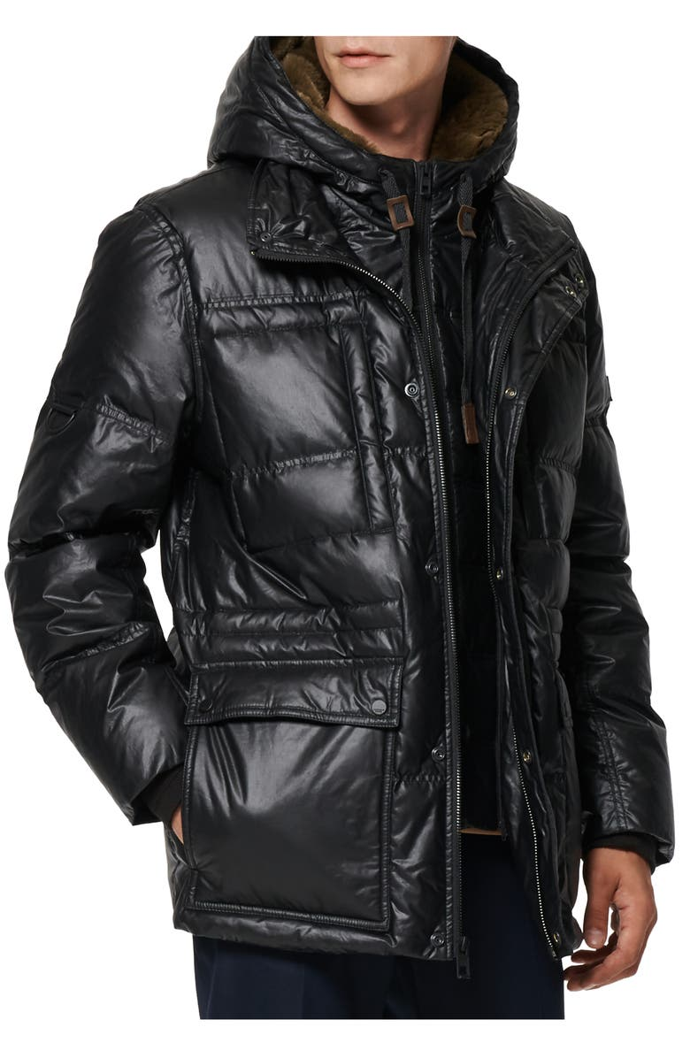 ANDREW MARC Kincaid Quilted Down Coat with Faux Fur Trim, Main, color, BLACK