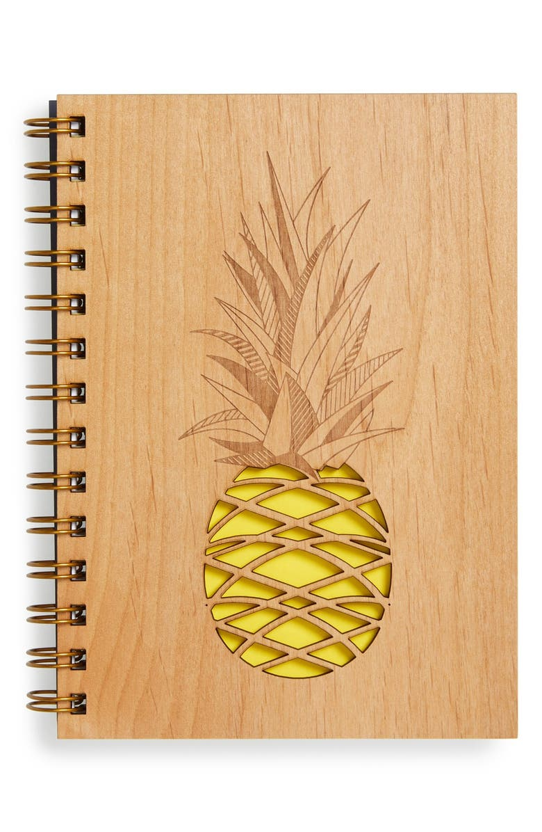 CARDTORIAL 'Pineapple' Wood Cover Journal, Main, color, 700