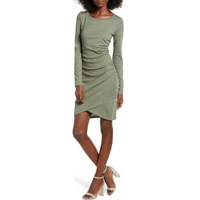 Leith Ruched Long Sleeve Dress, Green