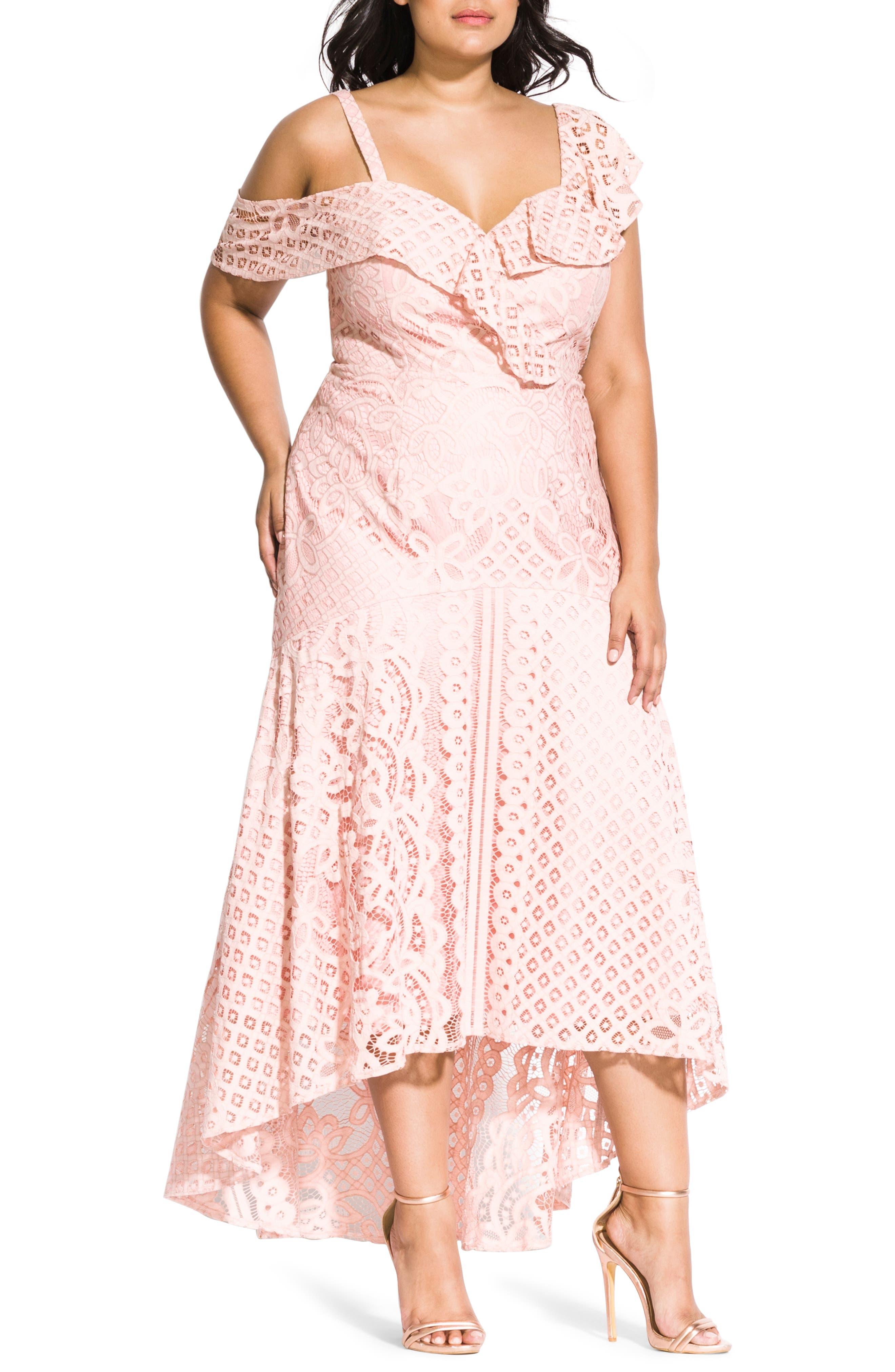 Plus Size City Chic Femme Fatale Maxi Dress, Pink