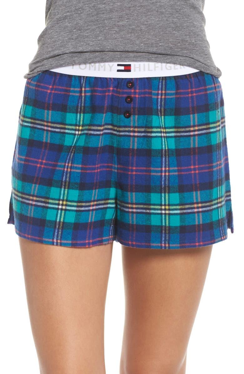 TOMMY HILFIGER Plaid Pajama Shorts, Main, color, 405