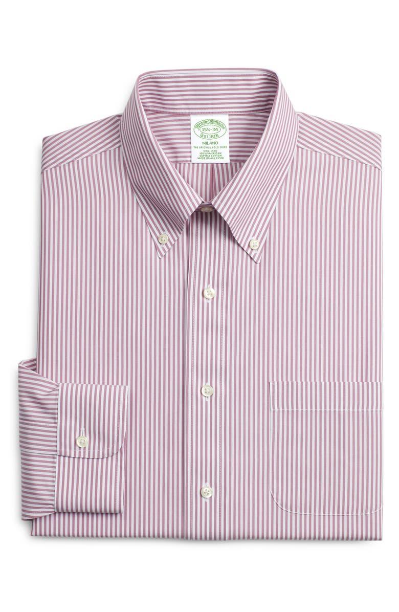 BROOKS BROTHERS Milano Slim Fit Stripe Dress Shirt, Main, color, 655