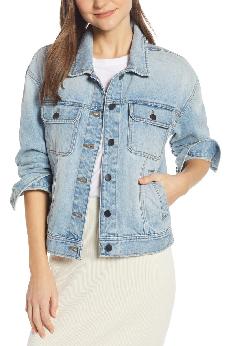 SOMETHING NAVY Denim Jacket, Main, color, DENIM LIGHT