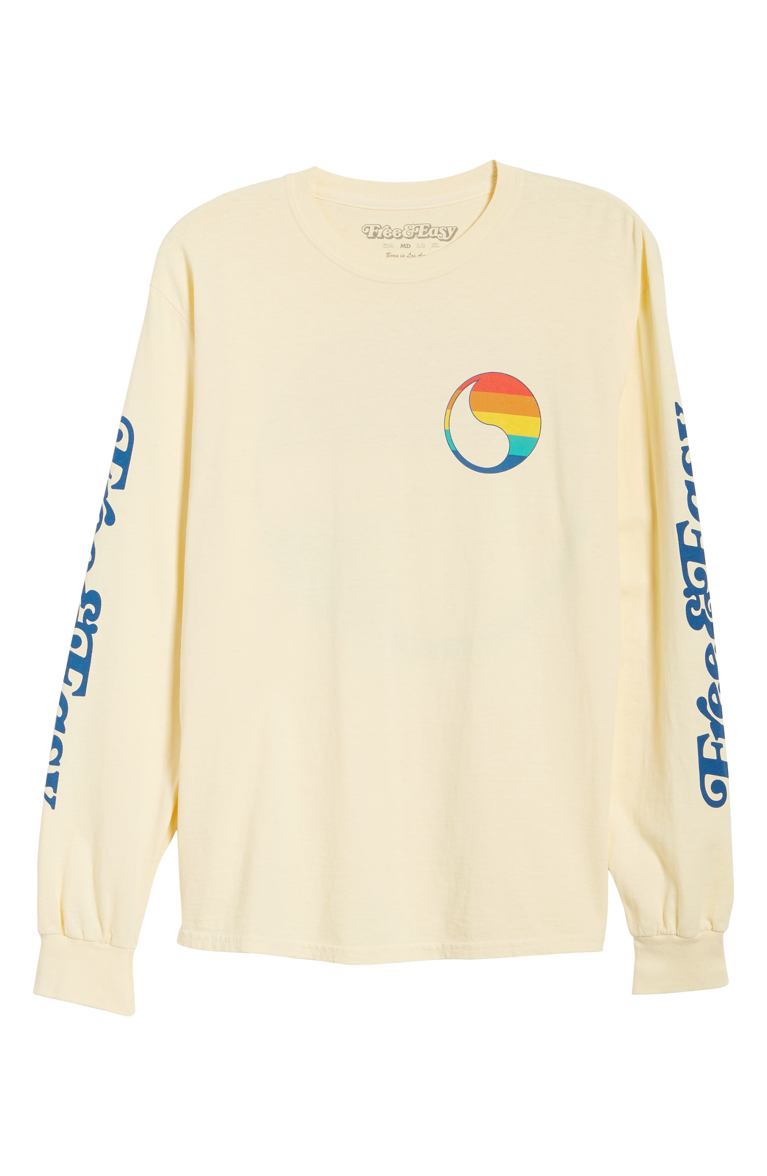 ,                             Free & Easy Rainbow Yin Yang Long Sleeve T-Shirt,                             Alternate thumbnail 6, color,                             YELLOW