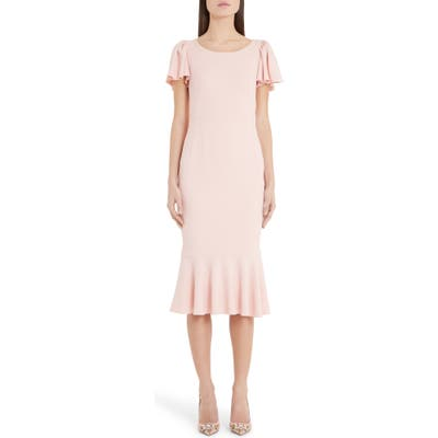 Dolce & gabbana Flutter Sleeve Midi Sheath Dress, 8 IT - Pink