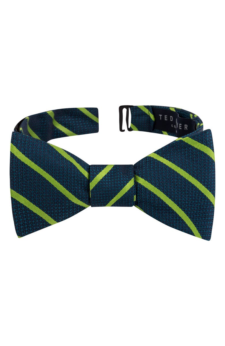 TED BAKER LONDON Stripe Silk Bow Tie, Main, color, AQUA/ TEAL