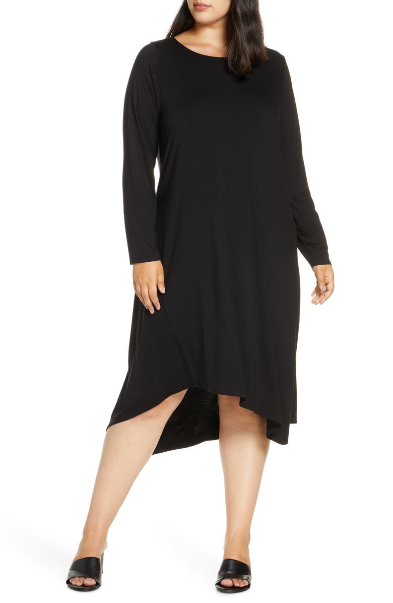 EILEEN FISHER Tencel<sup>®</sup> Lyocell Blend Long Sleeve Asymmetrical Dress, Main, color, BLACK