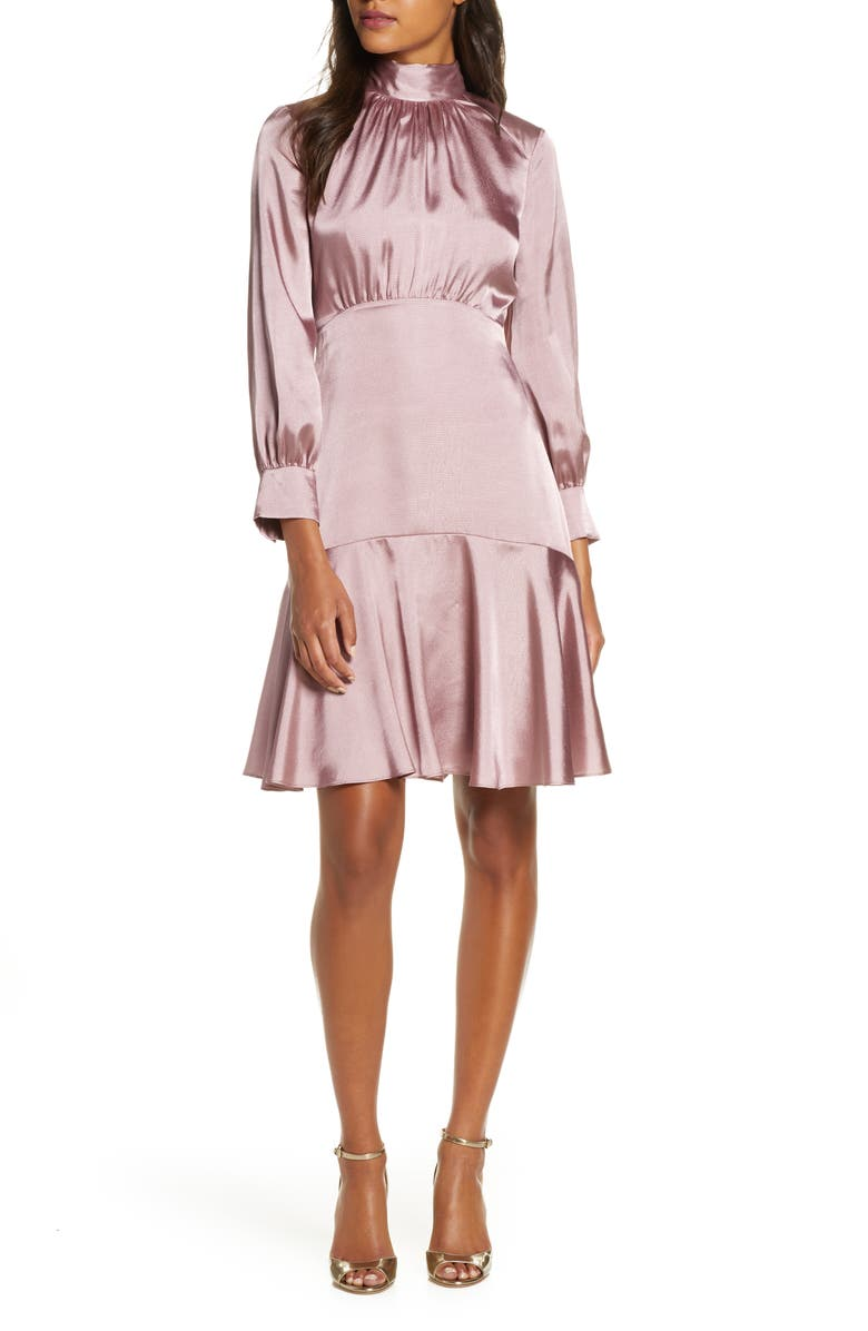 ELIZA J Long Sleeve Fit & Flare Dress, Main, color, PINK