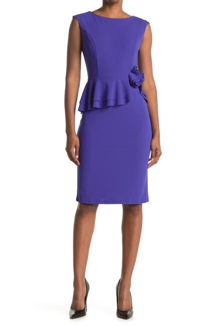 Image of Marina Peplum Short Dress With Flutter Rose Waist
